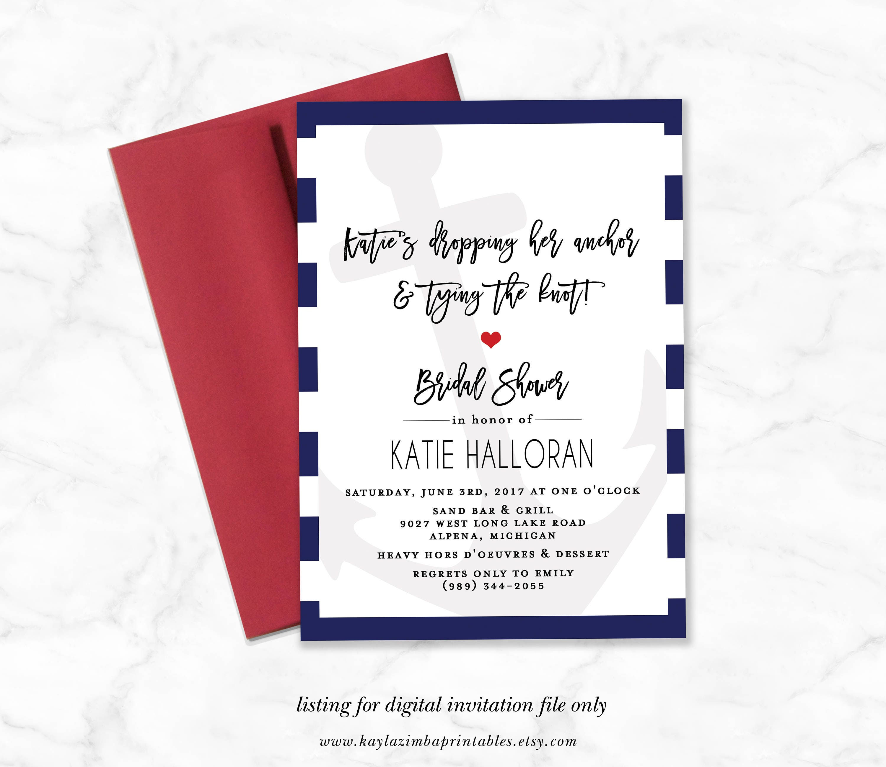 Nautical Bridal Shower Invitation Dropping Anchor and Tying | Etsy