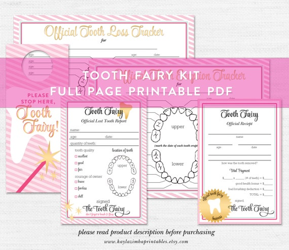 image about Free Printable Tooth Fairy Receipt titled Teeth Fairy Printable Package, Teeth Fairy Package, Enamel Fairy