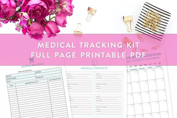 health and medical information planner kit printable medical