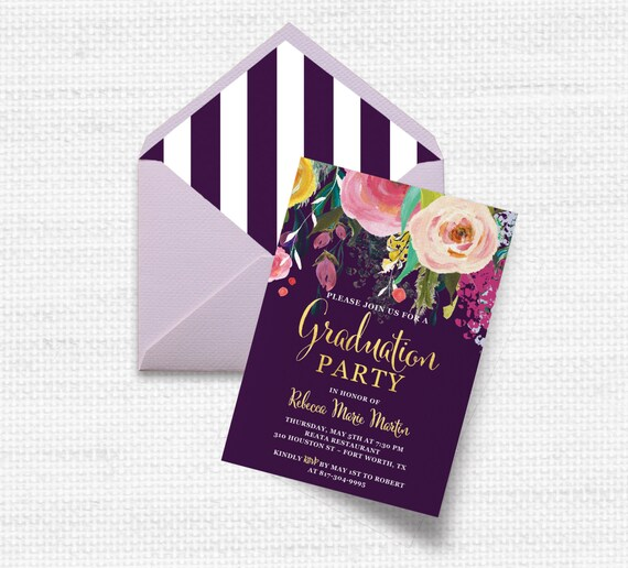 Flower Graduation Invitation Open House Party High