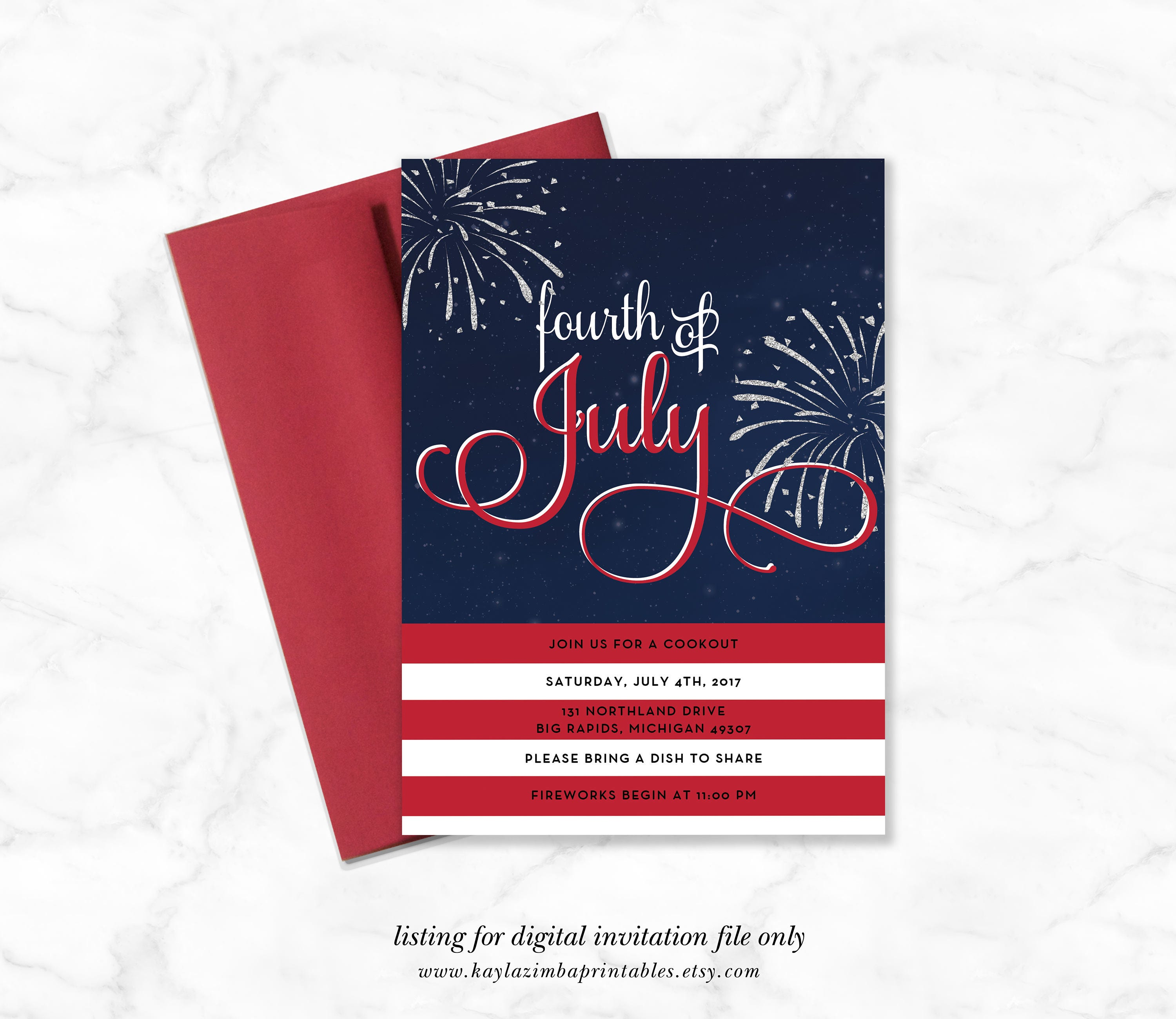 July 4th Summer Fireworks Invitation Printable Fourth of July   Etsy
