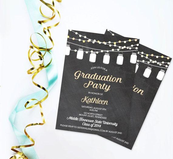 Chalkboard mason jar graduation invitation printable backyard etsy image 0 filmwisefo