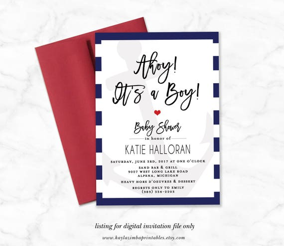 photo about Nautical Baby Shower Invitations Printable called Nautical Youngster Shower Invitation Printable, Ahoy its a Boy