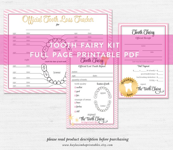 graphic relating to Free Printable Tooth Fairy Receipt called Teeth Fairy Printable Deal, Enamel Fairy Package, Enamel Fairy