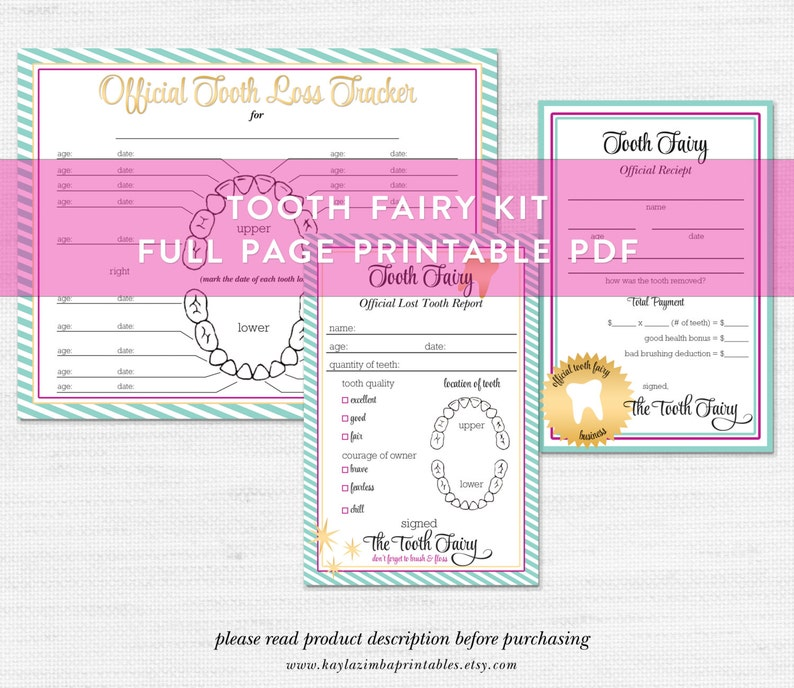 image regarding Tooth Fairy Printable titled Enamel Fairy Printable Offer, Teeth Fairy Package, Enamel Fairy Receipt, Teeth Fairy Write-up, Kids Printable, Mini Package, Gender Impartial