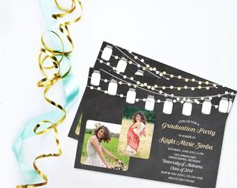 Graduation Invitation, Graduation Open House Party, High School Graduation, College Graduation Invite, Mason Jar Ball Jar Backyard Party