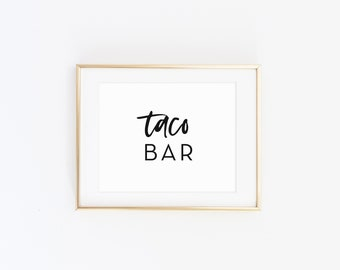 Taco Bar Sign, Food Table Printable Sign, Taco and Guacamole, Food Cart Decor, Bridal Shower Decor, Wedding Decorations, Modern, CLARA