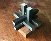 Vintage Table Sculpture Puzzle Rosewood Steel Mid-Century