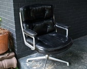 1960s Vintage Black Leather Charles Ray Eames Time Life Office Chair Mid-Century Eames Herman Miller Aluminum Group Architecture