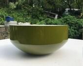 12 Inch Huge Michael Lax Green Salad Centerpiece Serving Pasta Bowl Copco Danish Vintage Modern Mid-Century Enamel Retro Mad Men