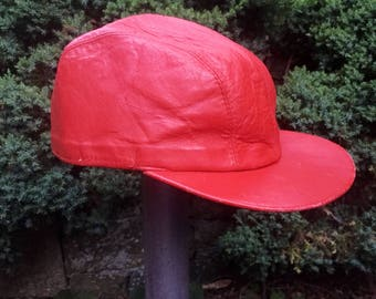 be2f1709cc1 1960 s Red Leather Hat Aristo Cap 7 3 8 Mens Cabbie Biker Pilot Hip Hop  baseball