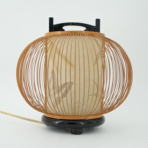 Mitte Des Jahrhunderts Japanischen Bambus Laterne Tisch Papier Etsy