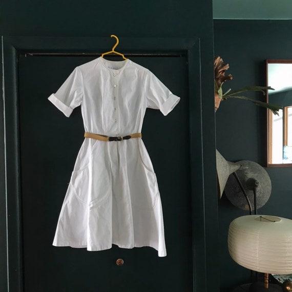 1950s Work Dress Mr. Josef Thick Cotton Uniform Nu