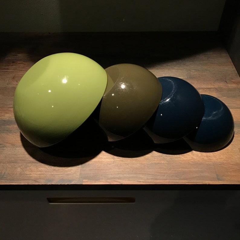 Set of Four Vintage Mid-Century Kaj Franck Arabia Enamel Bowls Scandinavian Krenit Arabia Danish Swedish