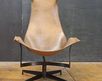 Vintage Leathercrafters NYC K Swivel Iron Leather Sling Chair Mid-Century Modern Craft Studio Workshop