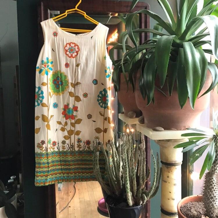 1960s Vintage Dress Flowers Psychedelic size 16 Mod retro by BrainWashington