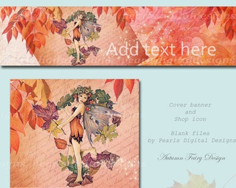 Autumn Fairy, Etsy cover banner and shop icon, instant download, blank files, pixie, fall leaves, autumn leaf, vintage letter, fall floral