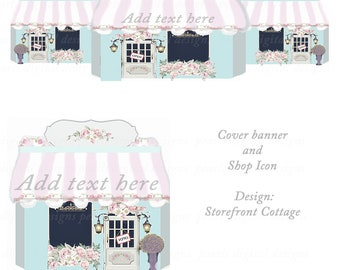 Storefront Cottage, Etsy cover banner and  shop icon, blank, instant download, stores with awnings, pink aqua, windows, doors
