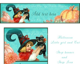 Halloween, Premade Etsy Banner, large cover and shop icon, Instant download, girl, black cat, pumpkins, teal, orange, witch cat and hat