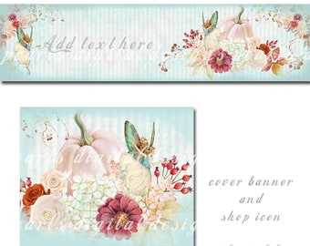Fairies on Roses, Etsy Cover banner set, instant download, Fairy, roses, pumpkins, leaves, aqua, pink, floral, flowers, autumn, pixies
