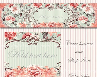 Autumn Vintage Garden, Etsy cover banner and shop icon, instant download, fall, peach orange aqua, flowers, floral, shabby chic, seasons