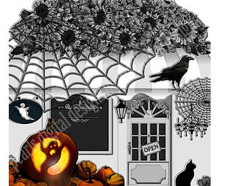 Halloween Store Front, Shop Icon, instant download, black and white, pumpkin, black flowers, spider web, black cat, Raven, awning, spooky