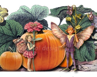 Fall Fairies, Cover banner and shop icon, Fall Pumpkin Patch, instant download, blank, Autumn, Fall, Halloween, garden, vintage theme