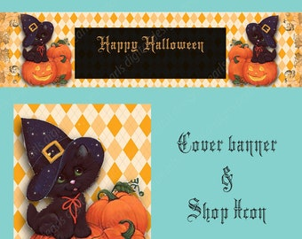 Halloween Cover banner set, Instant download, includes shop icon and large cover, cute black cat, pumpkins, orange black, witch hat, kitten