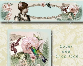Vintage Summer Ferns, Cover banner and shop icon, instant download, blank file, lady among ferns and roses, hummingbird, envelopes,