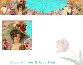 Floral cover banner and shop icon, Golden Garden Lady, instant download, blank files, vintage theme, lady, hat, floral,