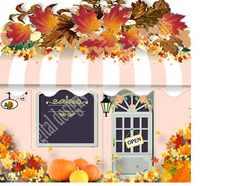 Fall Store Front, Shop Icon, Instant download, blank file, fall leaves, pumpkins, orange, fall leaf, shop store striped awning door window,
