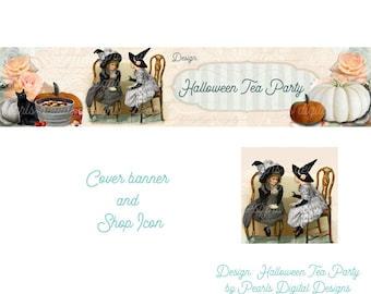 Halloween Tea Party, Etsy Cover banner and Shop Icon, instant download, blank, tea cups, witches hat Halloween costumes, chairs, girls