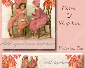 Fall Victorian Tea Party, Cover banner and shop icon, instant download, blank file, girls and teacups, autumn leaves, muted pink and peach