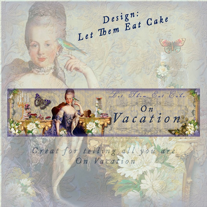 Let Them Eat Cake, 3 pc, Blank, On Vacation and Icon, instant download,  large Cover and shop icon, Marie Antionette, cakes, deserts