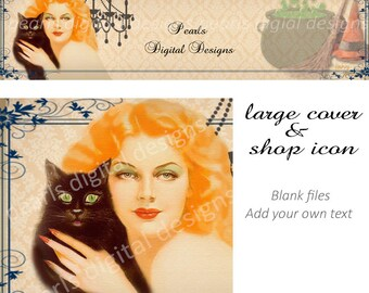 Halloween Etsy cover banner and Shop Icon, Instant download, blank file,  witch and black cat broom witch hat, cauldr