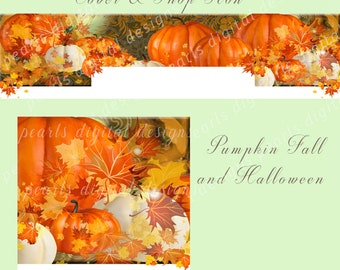 Halloween Etsy Cover banner and Shop Icon, instant download, blank, pumpkins, Fall season, Halloween or Thanksgiving, leaves, orange