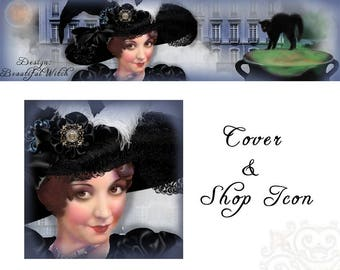 Halloween Witch Etsy cover banner and shop icon set, Beautiful Witch, Cover Photo and Shop Icon, Foggy Mansion, blank, lovely elegant hat