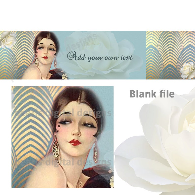 Etsy Cover banner and shop icon, Flapper, Art Deco, instant download,  blank, lady, pinup, blues and golds, earrings, vintage theme, roses