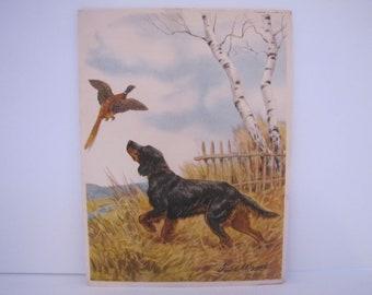 Vintage Paul Wood Lithograph Embossed Pheasant Print (1940)