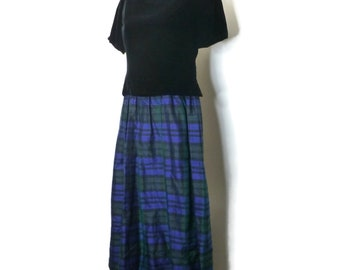 eee82321a9 Talbots Vintage 80s 6P Black Velvet Silk Plaid Skirt Cocktail Holiday  Christmas Xmas Special Occasion Maxi Dress Vintage Size 6P