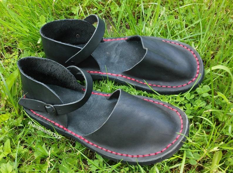 193164897 Dark walker with red thread cute feet leather sandals TREK