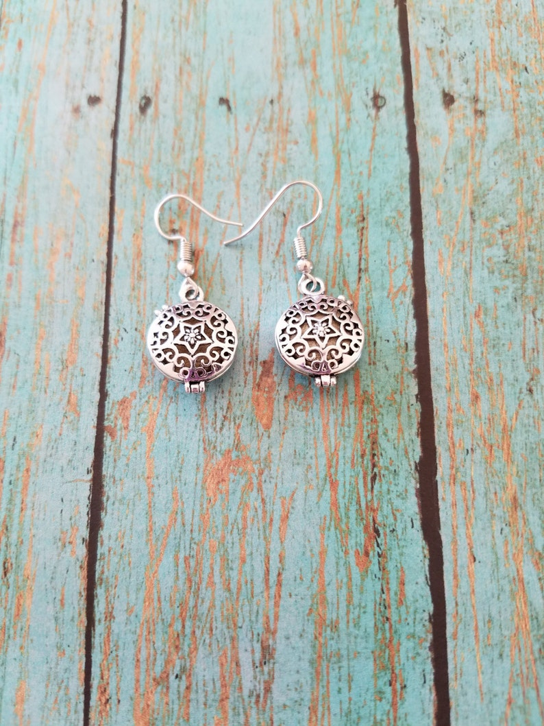 Silver diffuser earrings Diffuser earrings Essential oil image 0