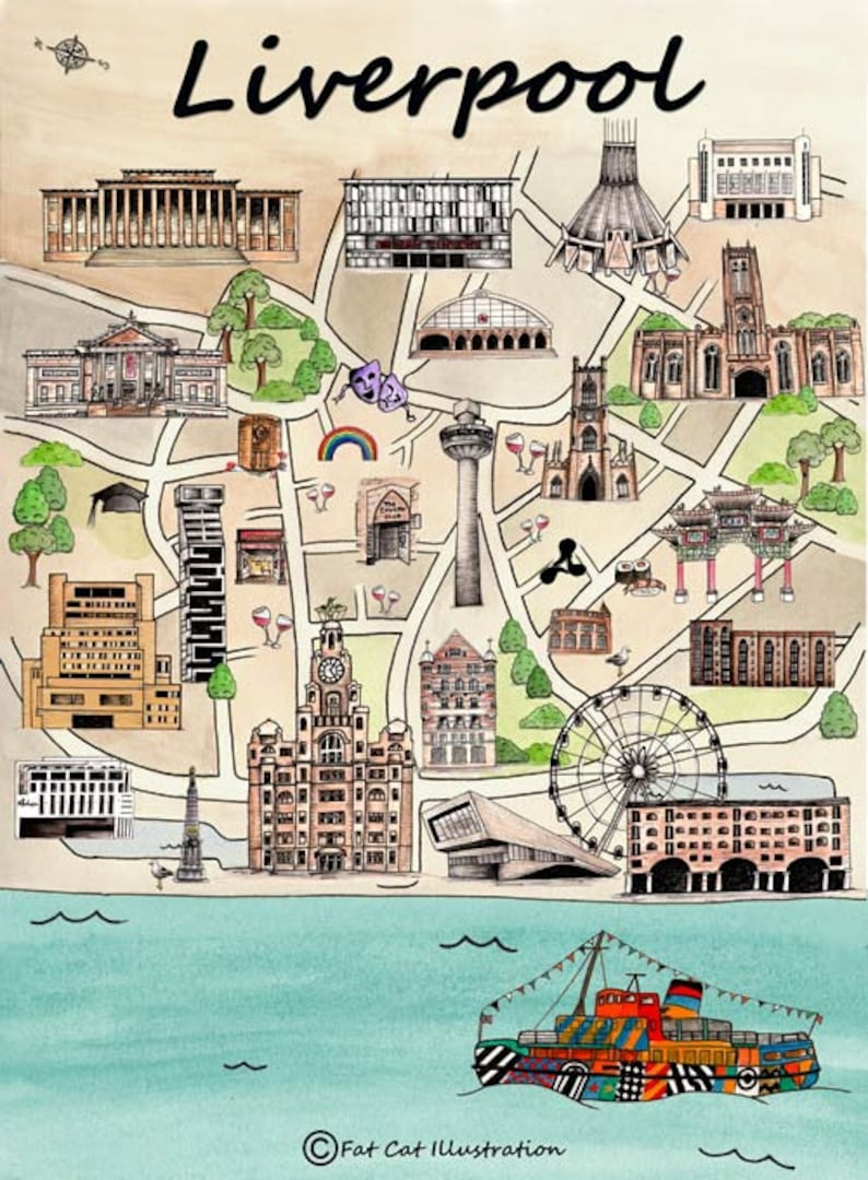 Liverpool Map-illustrated print-Liverpool gift | Etsy