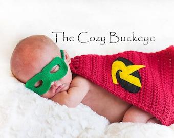 Ready To Ship * Newborn Baby Boy Robin Cape And Mask Crochet Set Photography Prop Superhero Cape Halloween Costume & Robin Baby Costume u0026 Batman \u0026 Robin Costumes Sc 1 St Costume Works