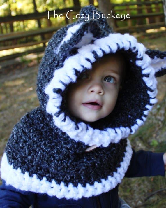 Wolf-Kapuzen-Schal Kapuze Grobstrick Kutte Tier Kutte   Etsy