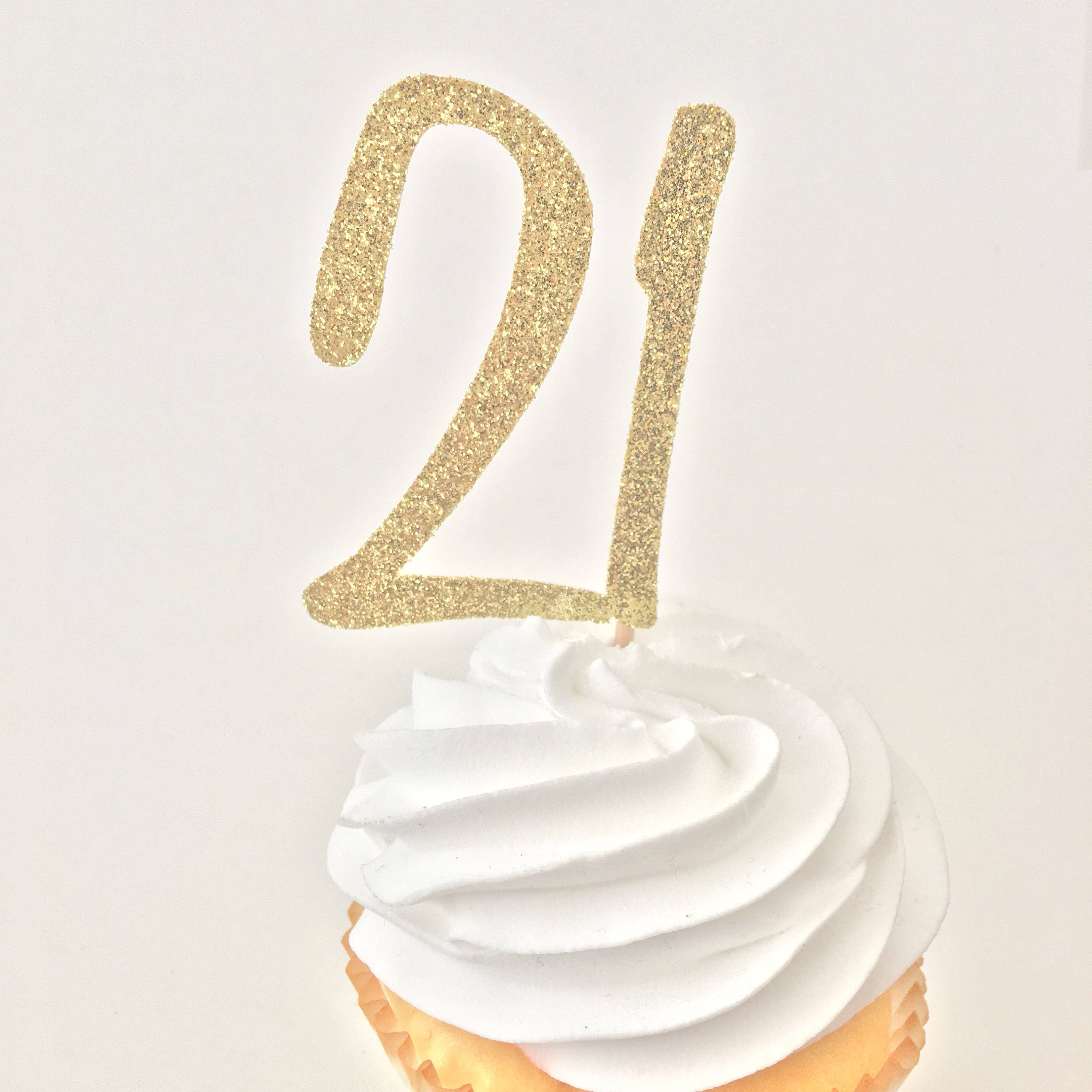 21 Cupcake Toppers 21st Birthday Decor Glitter Gold Etsy