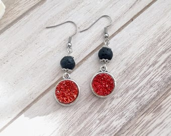 Starry Night Lava Stone Essential Oil Diffuser Earrings, Resin Druzy, Ruby Red Slippers