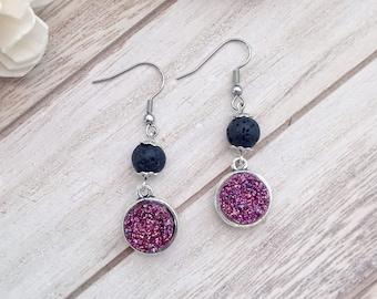 Starry Night Lava Stone Essential Oil Diffuser Earrings, Resin Druzy, Purple Confetti