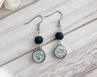 Starry Night Lava Stone Essential Oil Diffuser Earrings, Resin Druzy, Spaceship Silver