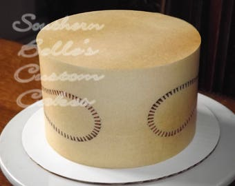 Edible Baseball Cake Wrap/Sheet Cake Topper ED182JPW-edible Softball cake wrap-adult kid's cake-edible cake decorations-personalized party